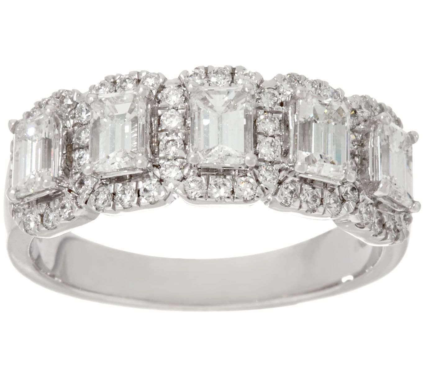 Halo 5 Stone Emerald Cut Diamond Band Ring 1 30cttw 14k Affinity Page Qvc