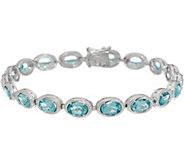 Teal Blue Apatite Sterling Silver 7-1/4 Tennis Bracelet - J346140