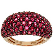 Pave Thai Ruby Wide Domed Ring 14K Gold 4.50 cttw - J346440