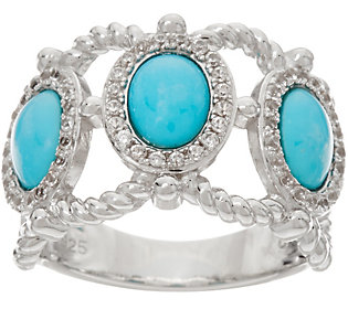 3-stone Sleeping Beauty Turquoise Wide BandSterling Ring