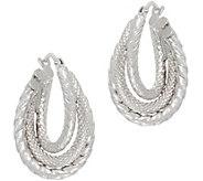 14K Gold Textured Twist Hoop Earrings - J350940