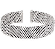 Italian Silver Diamond Cut Beaded Mesh Cuff, 21.5g - J356840