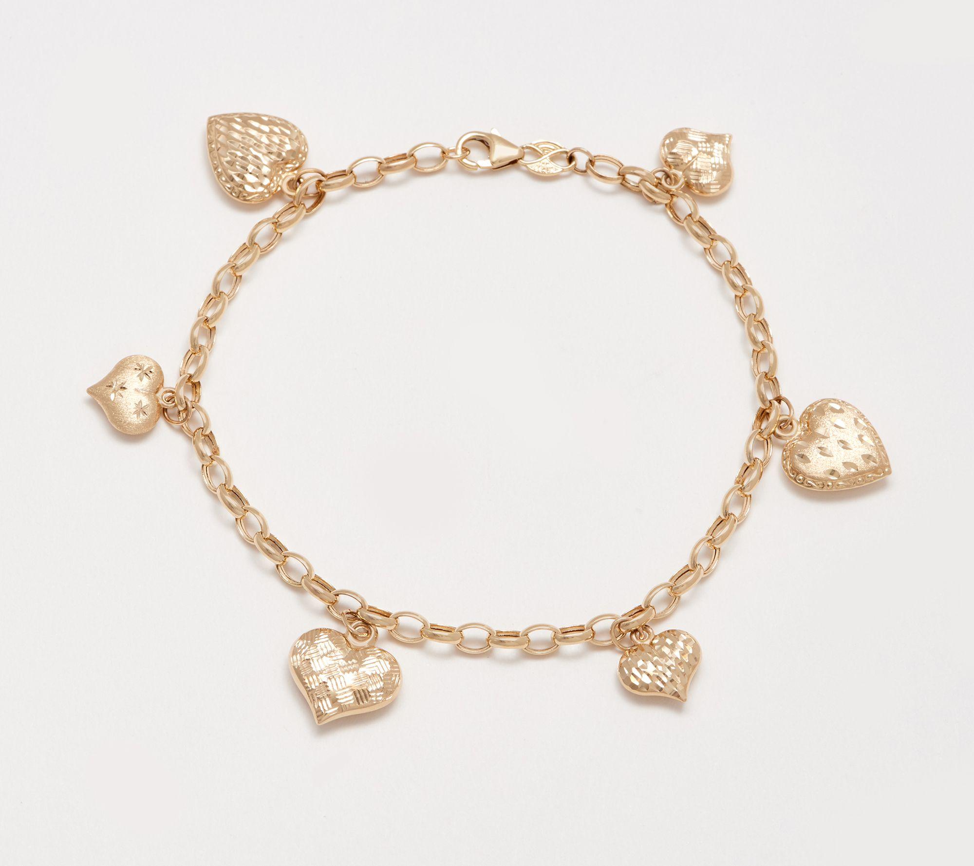 Heart Charm Bracelet 14k Gold
