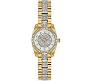Bulova Womens Goldtone Swarovski Crystal Watch - J378540