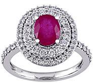 14K Gold 1.50 cttw Oval Ruby & Diamond Halo Ring - J382340