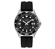Caravelle Mens Black Silicone Strap Sport Watch - J383340