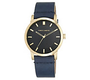 Vince Camuto Mens Goldtone Navy Blue Leather Strap Watch - J383540