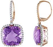 14K 20.00 cttw Amethyst & 9/10 cttw Diamond Dangle Earrings - J392240