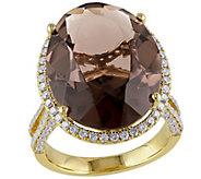 14K 13.80 cttw Quartz and 1.00 cttw Diamond Cocktail Ring - J392340