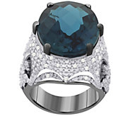 Sterling London Blue Topaz & White Zircon Ring - J392440