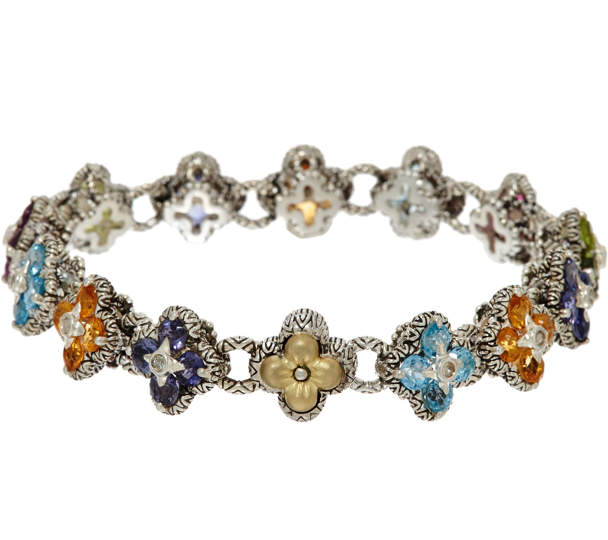 Barbara Bixby Sterling 18k 7 30 Cttw Multi Gemstone Flower Line Bracelet Qvc