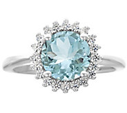 Premier 1.50cttw Round Aquamarine & Diamond Ring, 14K - J338241