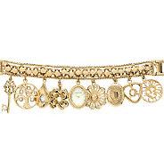 Anne Klein Womens Goldtone Charm Watch - J338741