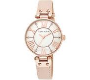 Anne Klein Pink Leather Strap Watch w/ GlitterAccents - J344741