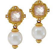 Judith Ripka 14K Clad Rose Quartz & Freshwater Pearl Earrings - J348841