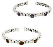 JAI Sterling Silver Gemstone Box Chain Cuff, 21.0g - J351741