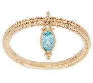 Judith Ripka 14K Gold Blue Topaz Charm Ring - J355341
