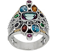 Artisan Crafted Sterling Silver & 18K Gold Multi-Gemstone Ring - J355441