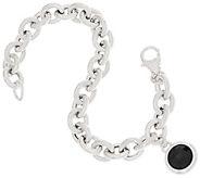 Bronzo Italia Gemstone Charm Rolo Link Bronze Bracelet - J357941