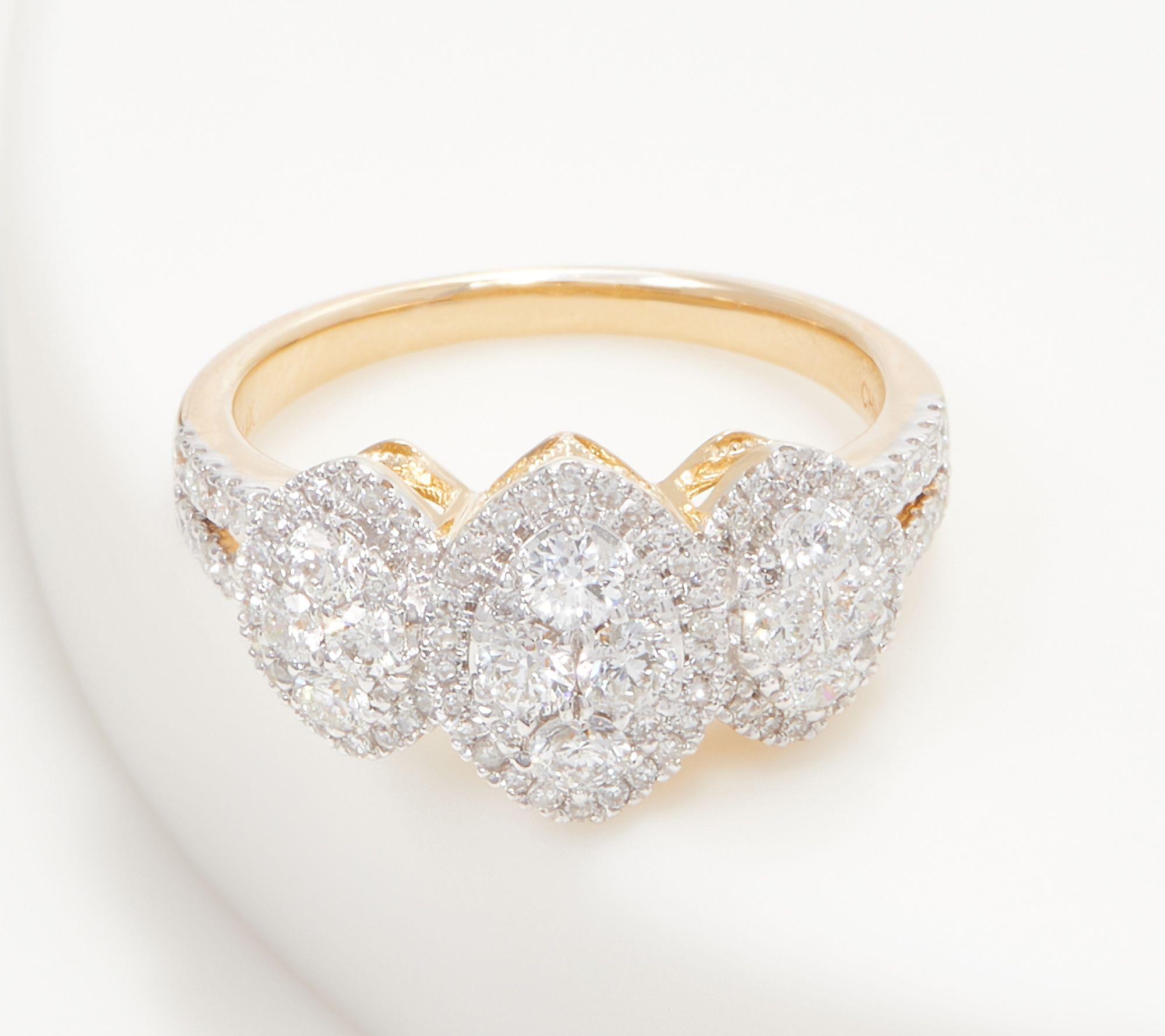 5b0f46687f446 Affinity 14K Gold Marquise Triple Cluster Diamond Ring, 1.00cttw — QVC.com