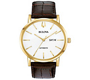 Bulova Mens Classic Automatic Brown Leather Strap Watch - J384641