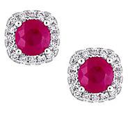 14K Gold 1.20 cttw Ruby & 1/4 cttw Diamond HaloStud Earrings - J385141