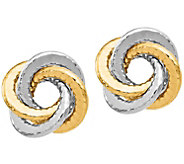 14K Gold Textured Love Knot Earrings - J385541