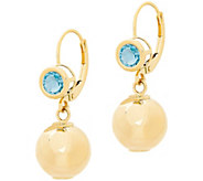 EternaGold 10mm Polished Drop Bead & Blue TopazEarrings, 14K - J386341