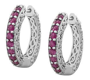 Sterling 2.50 cttw Ruby Hoop Earrings