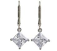 Diamonique Princess Cut Lever Back Earrings, Platinum Clad - J112342