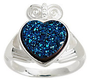 JMH Jewellery Sterling Silver Claddagh Drusy Quartz Ring - J276242