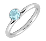Simply Stacks Sterling 5mm Round Aquamarine Solitaire Ring - J298742