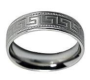 Sterling 6MM Greek Key Design & Milgrain U nisex Band Ring - J312042