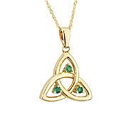 Solvar Emerald Trinity Knot Pendant, 14K - J316442