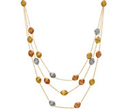 Arte dOro Tri-color Satin Bead Necklace 18K Gold, 21.0g - J335042