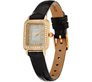 Judith Ripka 14K Gold 1/2 cttw Diamond Leather Watch - J348442