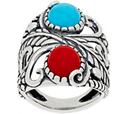 American West Red Coral & Turquoise Leaf and Flower Ring - J350542