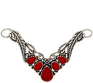 American West Sterling Silver Red Coral Leaf Necklace Insert - J350842