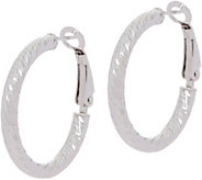 Sterling Silver 1 Diamond Cut Omega Back Hoop Earrings by Silver Style - J351042