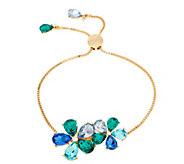 As Is Isaac Mizrahi Live! Adjustable Crystal Flower Bracelet - J351142