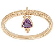 Judith Ripka 14K Gold Amethyst Charm Ring - J355342
