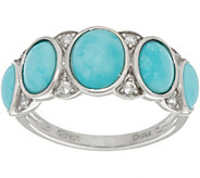 As Is Sleeping Beauty Turquoise Oval 5-Stone Sterling Ring - J356142