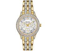 Bulova Womens Goldtone Swarovski Crystal Subdial Watch - J378542
