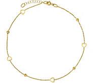14K Gold Heart & Bead Anklet, 1.5g - J378642
