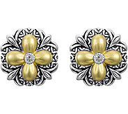 Barbara Bixby Sterling & 18K Gold Flower ButtonEarrings - J380442