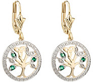 Solvar 14K Diamond & Emerald Accent Tree of Life Drop Earring - J380842