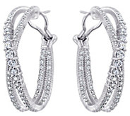 Judith Ripka Sterling 5.40 cttw Crisscross HoopEarrings - J382442