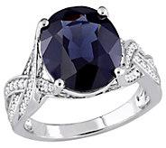 14K Gold 5.90-ct Black Spinel & 3/10-ct DiamondTwist Ring - J383642