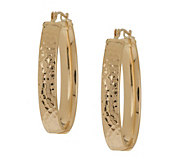 EternaGold Oval Hammered Hoop Earrings 14K Gold - J392042