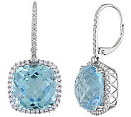 14K 30.00 cttw Sky Blue Topaz & 9/10 cttw Diamond Earrings - J392242